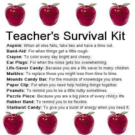 Teacher's Survival Kit Gift