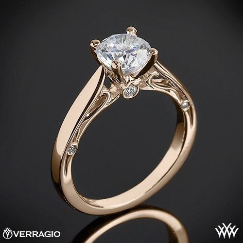20k Rose Gold Verragio Cathedral Solitaire Engagement Ring