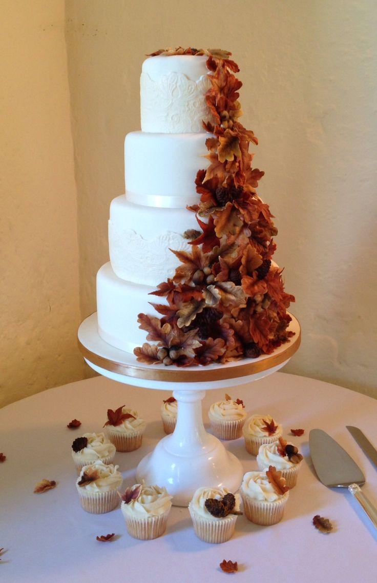 Cascading Autumn Leaves Wedding Cake