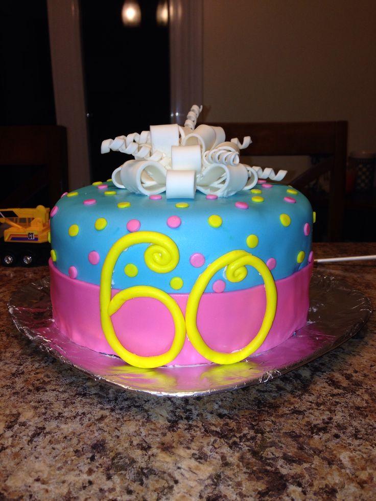 Fondant cake- 60th birthday  Cake decorating ideas  Pinterest