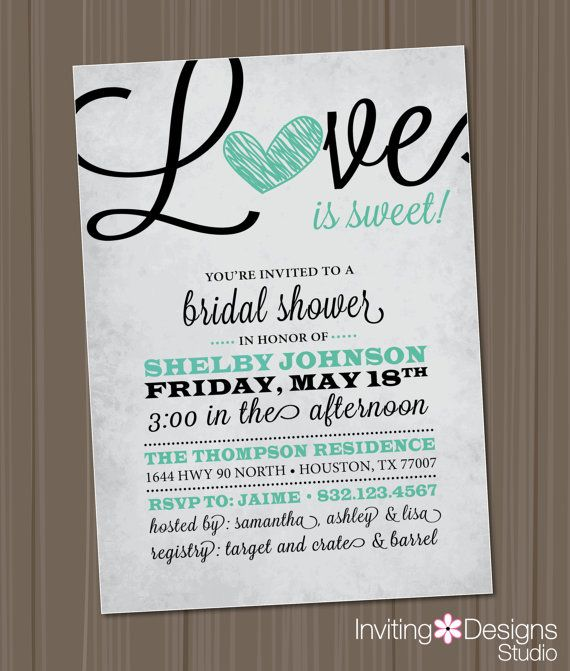 Bridal Shower Invitation, Love is Sweet, Heart, Black, Mint Green ...