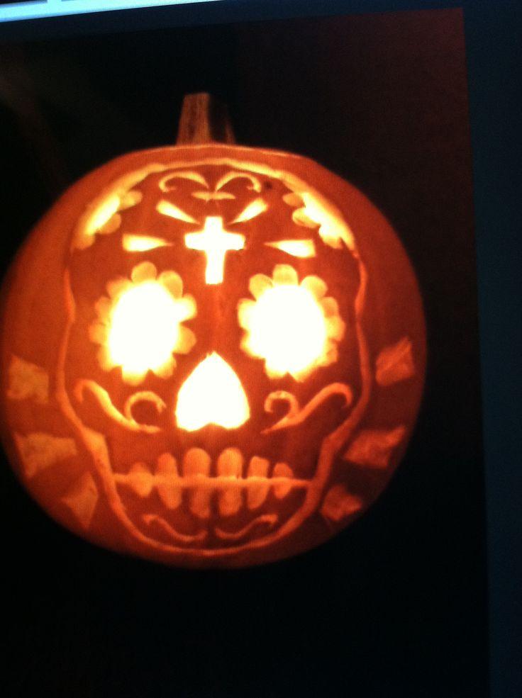 Sugar skull pumpkin template imgkid the image