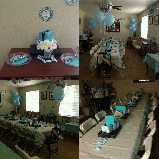 blue safari baby shower set up