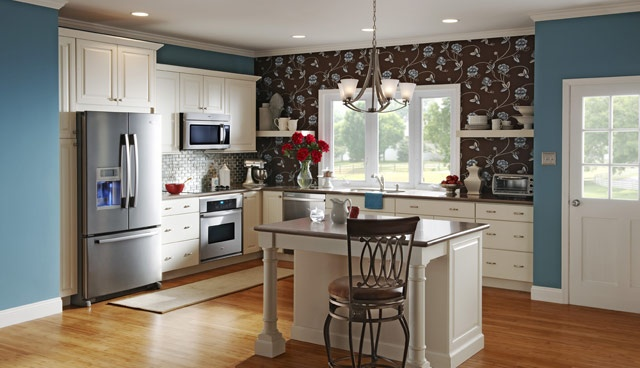 white cabinets and blue walls  Kitchens  Pinterest