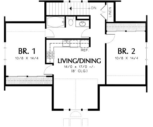 Two bedroom guest suite over 3 car plan - Two bedroom home plans ...