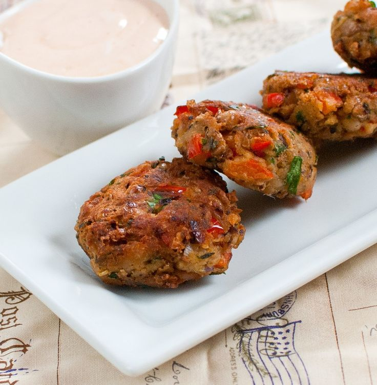 baked-in - black-eyed pea fritters with honey-sriracha dipping sauce