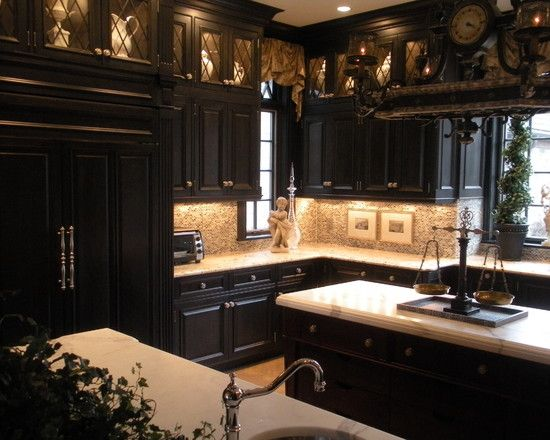 Black Kitchen Cabinets Glass  Live To Decorate  Pinterest