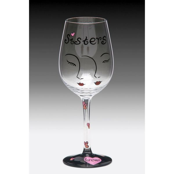 Image detail for -Sisters Forever Hand Painted Wine Glass | MonsterMarketplace.com