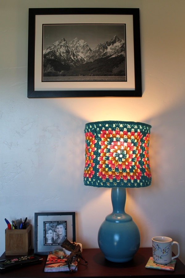 granny square crocheted lampshade