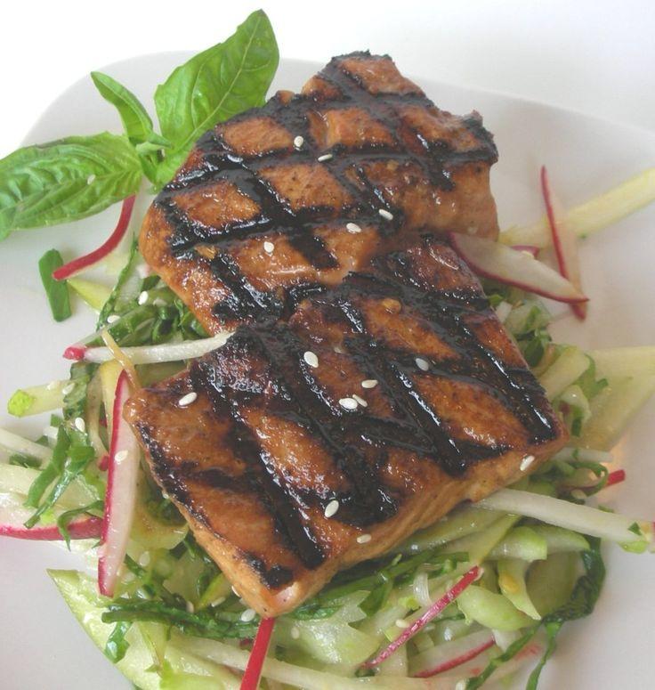 Wasabi soy-glazed salmon with bok choy and pear slaw (1)