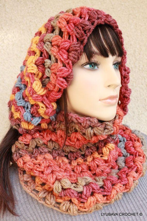 Crochet Puff Stitch Infinity Scarf Pattern, Chunky Crochet Scarf Patt ...