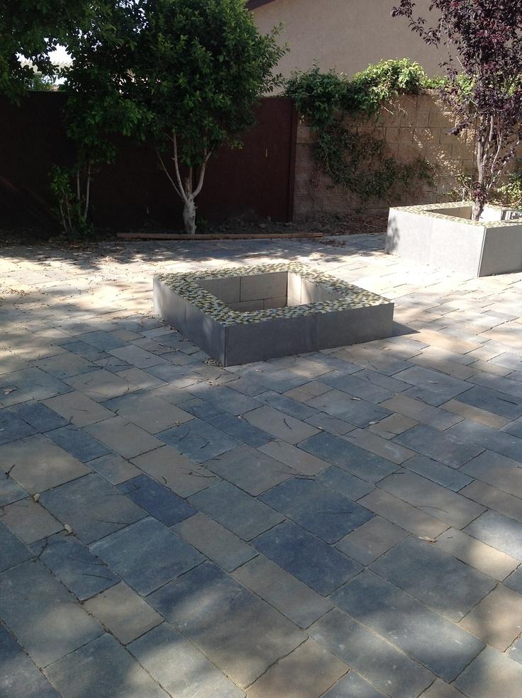 Patio pavers glass mosaic tile backyard pinterest for Pinterest patio pavers