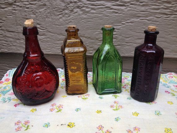 Set Of 4 Miniature Tiny Colored Glass Cork Top Bottles