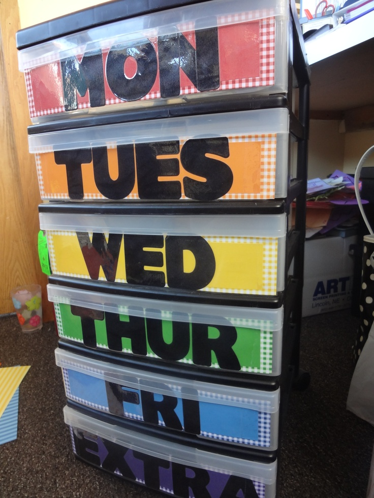 Weekly Activity/Project Organizer for teachers! (we covered the fronts of the drawers with scrapbook paper and labeled each drawer)