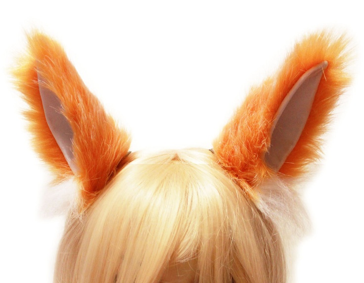 ORANGE white Mix 6 inch inner White Cat kitty Ear Wild FOX ear Hair ...