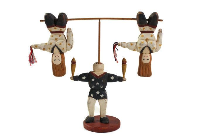 Wolf creek folk art circus wood carving acrobats and