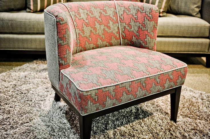 Customizable accent chair loving the pink and grey houndstooth