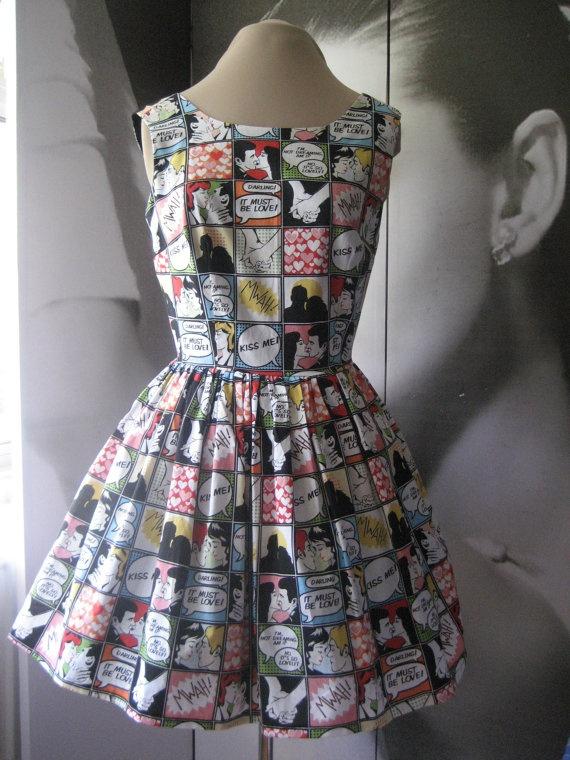 Womens prom dress multicolour retro comic print by Mariasheehy, €70.00