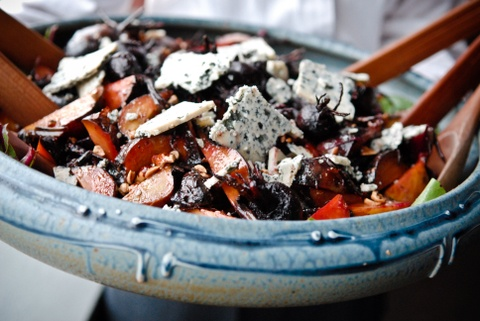... caramelized onions, carrots, and celery, with feta and a red-wine