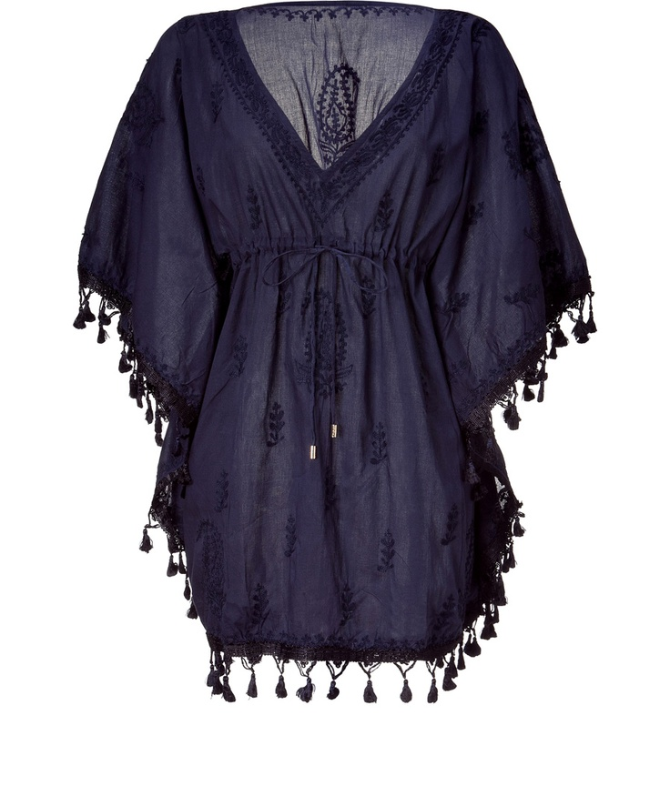 Navy Embroidered Short Caftan