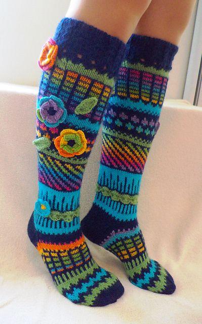 Ирландское вязание носков спицами 76