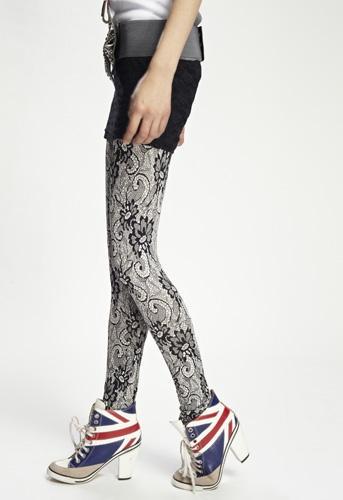 Lace-Print Leggings and Union Jack shoes