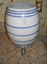 Vintage Stoneware Crock Marked 3 Jug Water Cooler Blue