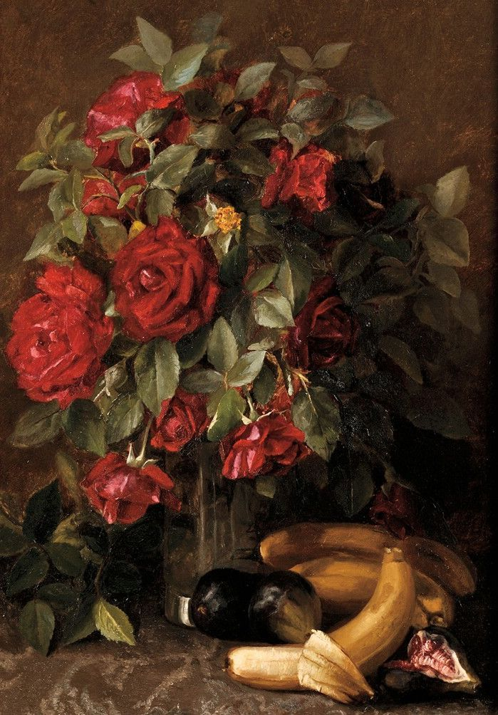 Still Life with Roses, Bananas, and Figs on Damask, 1897, by Susie Dugan