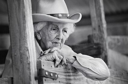 """Connie Reeves  Kerrville, Texas    At 101 years old, Connie was still riding her horse every day. She taught over 36,000 girls to ride at a girls summer camp over a span of 70 years. She was a huge inspiration to many people. Her health was great and her mind was sharp. I asked her what her secret to longevity was. She said, """"Well Honey, you just don't let that rocking chair take over…you get up and go even if you don't want to."""""""