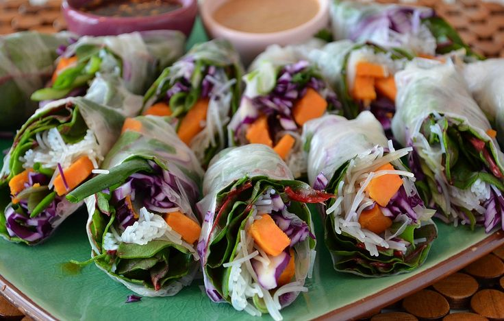 Winter (Spring) Rolls with swiss chard, sweet potato, and purple ...
