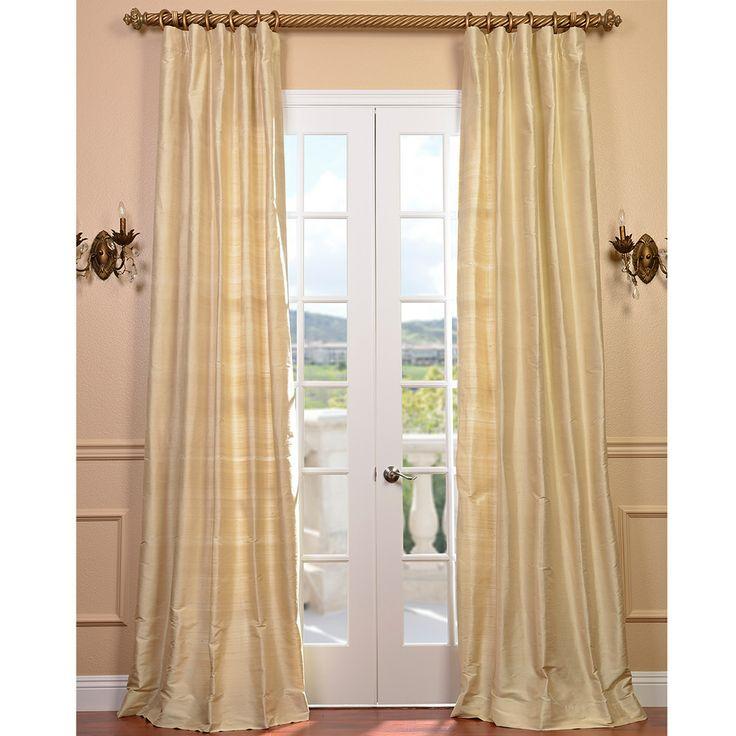 signature beige textured silk 96 inch curtain panel
