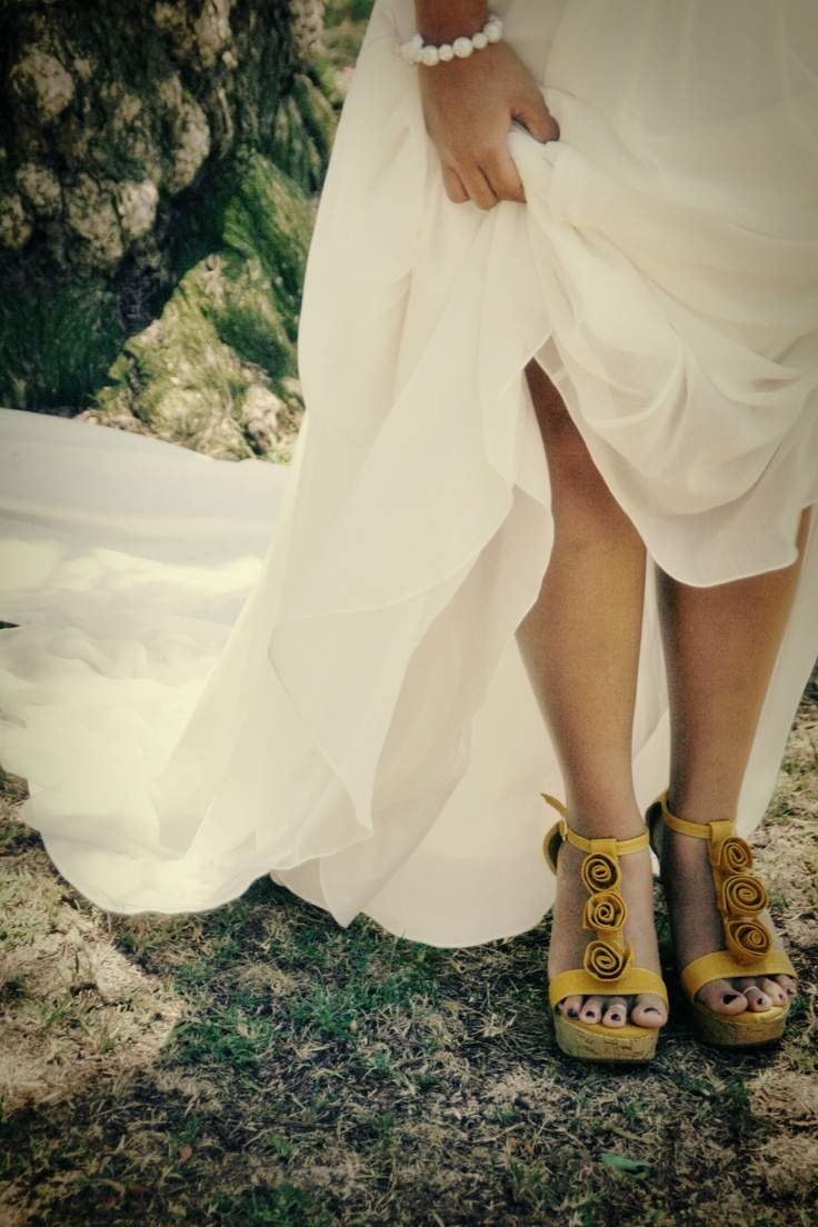 Yellow shoes wedding dress