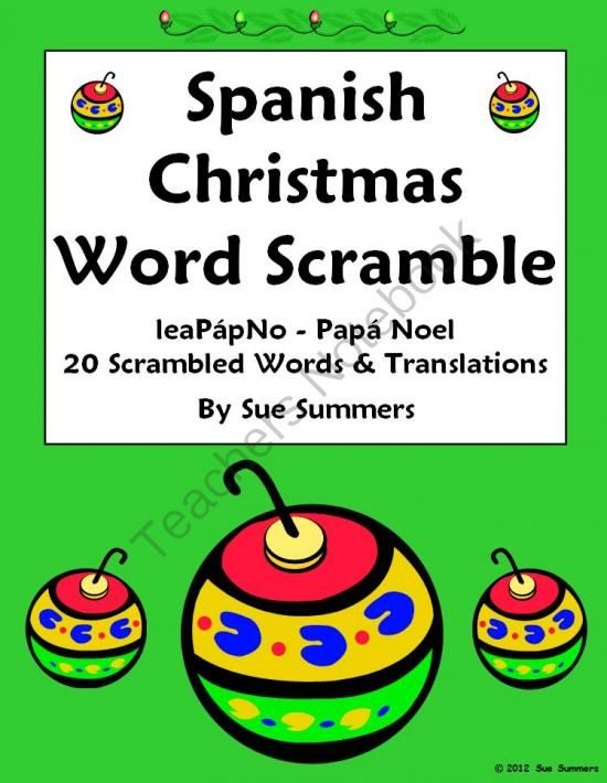 Spanish Christmas Word Scramble - La Navidad from Sue Summers on ...