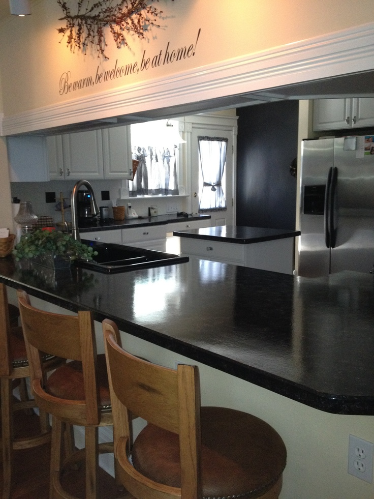 Countertop Paint Black : Countertops painted with Giani Bombay Black.