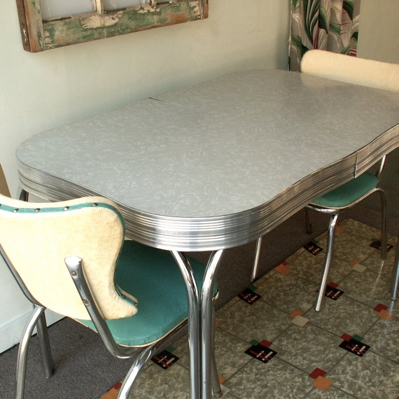 Vintage chrome and formica table with two by lookingforye for Retro kitchen table and chairs