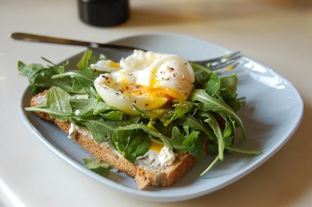 Soft Boiled Egg over Arugula and Toast by blueskylimit, via Flickr