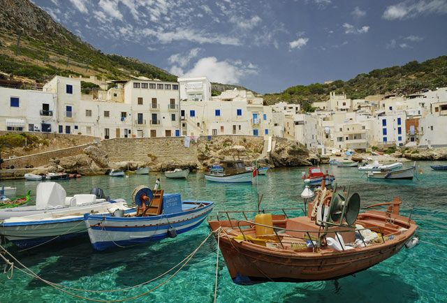 Cala Dogana, located on the southern coast of Levanzo, the smallest of the Egadi Islands in the Mediterranean Sea west of Sicily.