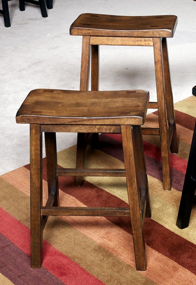 Wood Backless Counter Stools - Set of 2