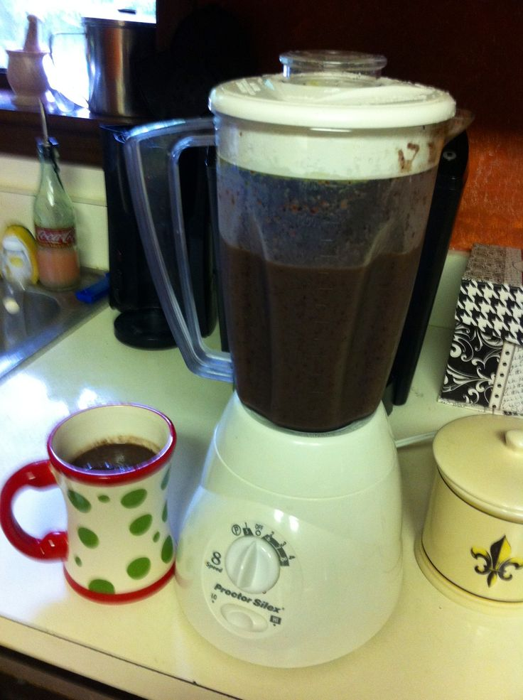 Yummy shake: almond milk, blueberries, bananas, peaches, spinach and ...