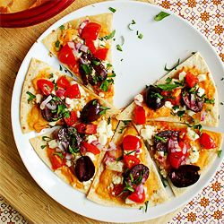 Nachos with roasted Red Pepper Hummus, feta cheese, kalamata olives ...