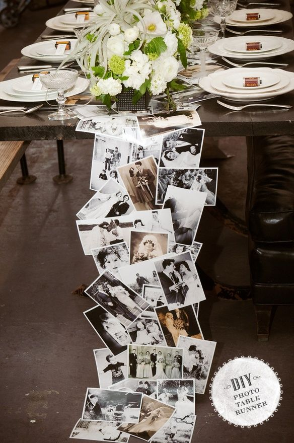 Awesome table runner made from old photographs #DIY  #let-love-live-on-wedding-lifestyle-photographs