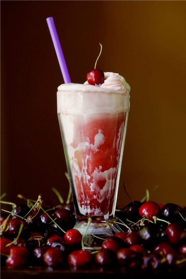 Cherry Cheesecake Float: cream cheese ice cream, homemade cherry soda ...