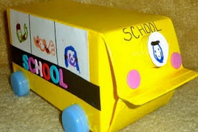 Milk Carton School Bus--An old milk carton gets a second life as a colorful school bus.