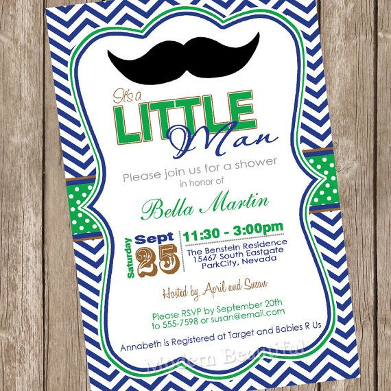 Baby Shower Invitation moustache, little man invitation, green, blue