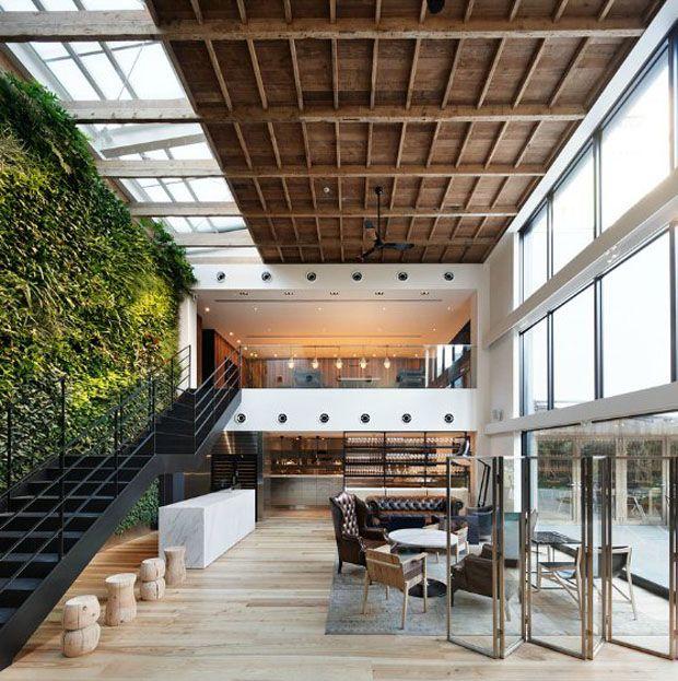 Split glass/wooden ceiling