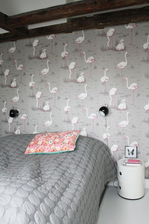 Flamingos flamingos pinterest for Pink and grey bedroom wallpaper