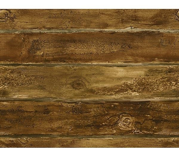 Walnut Faux Log Cabin Wallpaper
