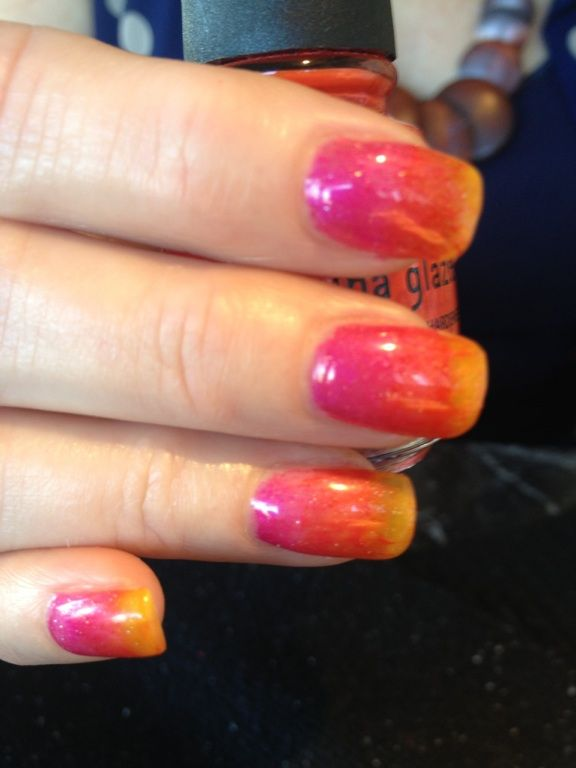 Ombre fuchsia to yellow. CND Effects ( dusts) on gel nails