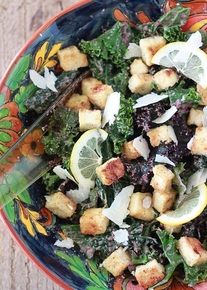 Kale Caesar Salad with Tofu Croutons & Kalamata Caesar Dressing   Rec ...