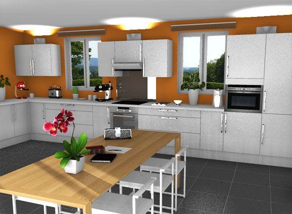 Orange kitchen kitchen rendering with free home design for Home design rendering software